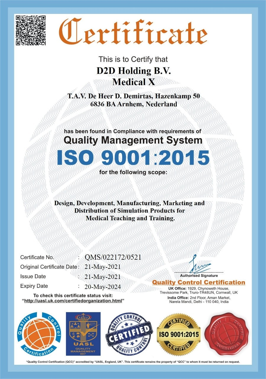 Medical-X ISO 9001:2015 certificate